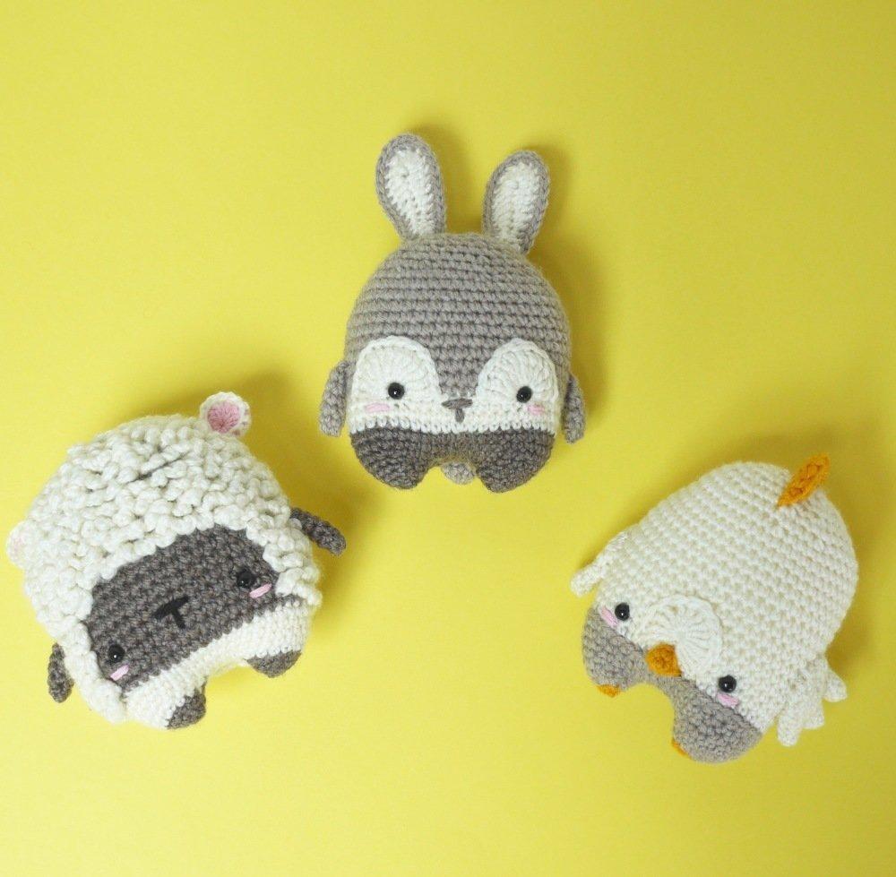 Rufus l'agneau, Buddy le lapin et Chuck le poussin, les 3 petites créatures de Lalylala pour Pâques