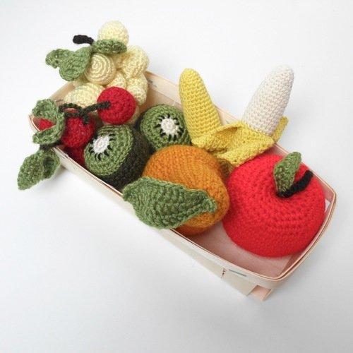 Petite cagette de fruits de saison au crochet