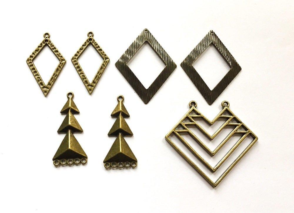 Lot de breloques bronzes géométriques