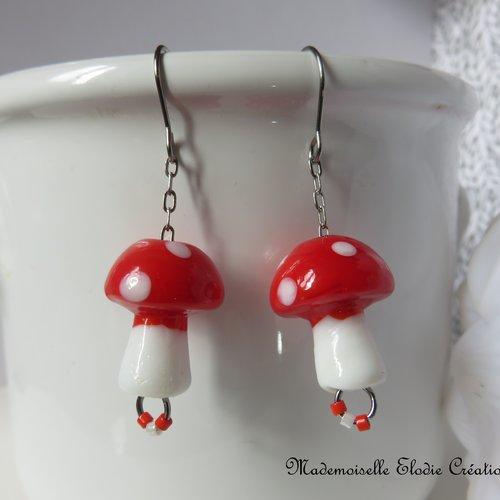 Boucles d'oreilles champignons