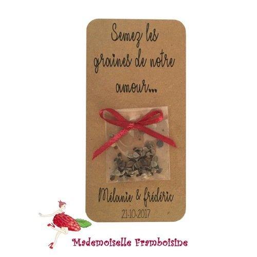 Carte sachet de graines, semez les graines de notre amour, cadeaux invités, mariage champêtre, kraft naturel, lien satin, personnalisable