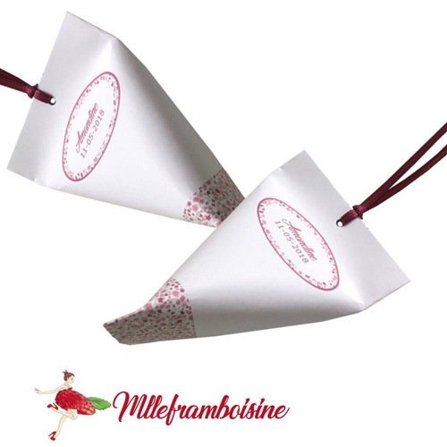 Boîte à dragées, berlingot, motif liberty rose, lien satin violine, communion, bapteme, anniversaire, mariage