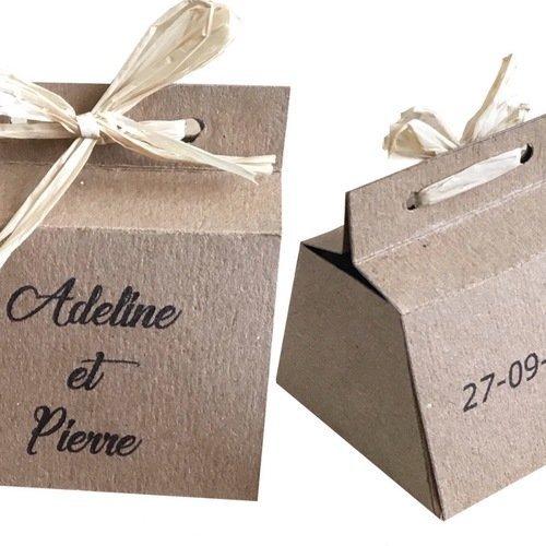 Boîte à dragées, kraft naturel et lien raphia, mariage champetre,  personnalisable, baptême, mariage, communion, anniversaire