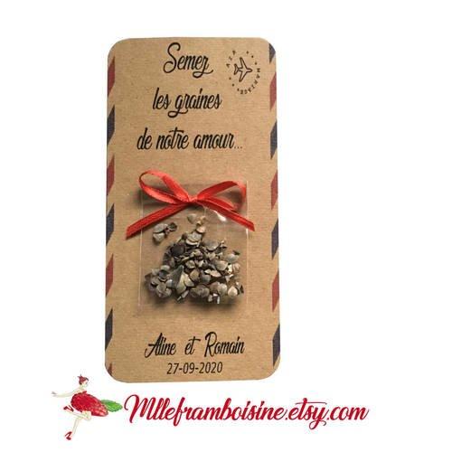 Carte sachet de graines, mariage thème voyage , cadeaux invités, personnalisable, semez les graines de notre amour