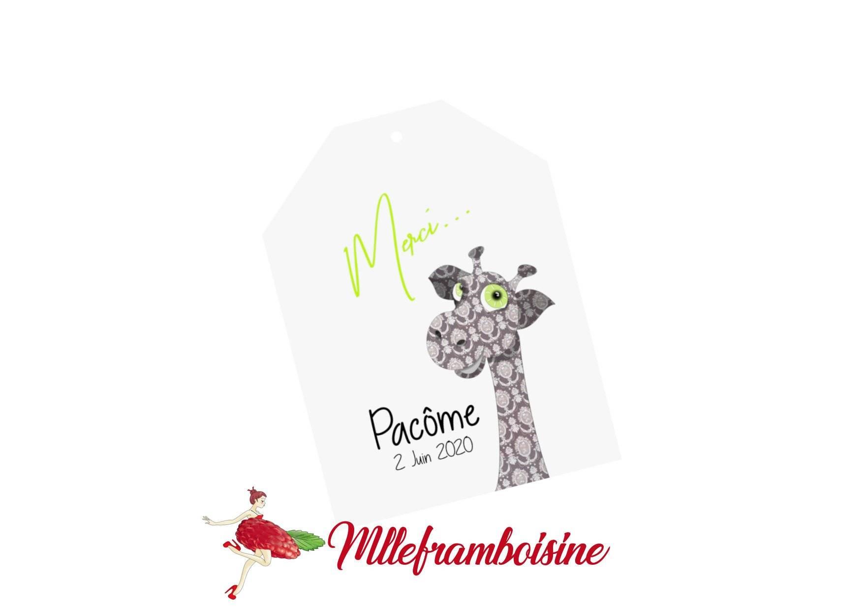 """Etiquette remerciement, """"merci..."""", thème enfant, Girafe,  texte personnalisable"""