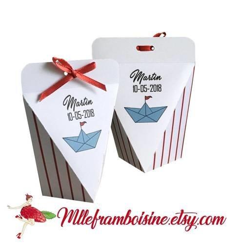 Boîte à dragées, personnalisable, petit bateau, rouge et bleu, baptême, mariage, communion, anniversaire