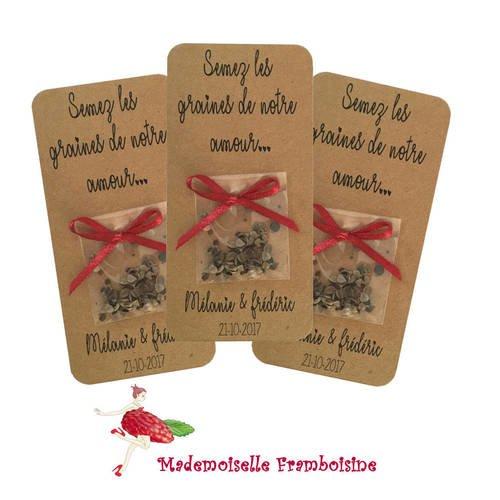 """Carte sachet de graines, mariage nature , cadeaux invités, personnalisable, """"semez les graines de notre amour"""" lien satin rouge"""