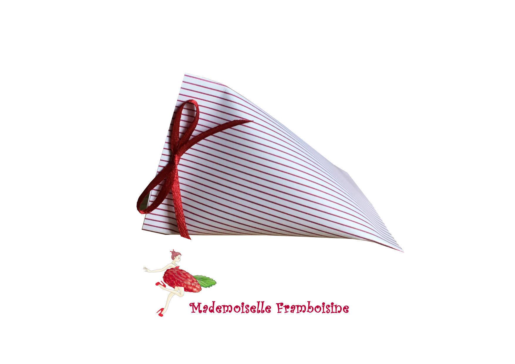Boîte à dragée, Berlingot, rayures rouges et blanches,baptème, mariage, anniversaire, communion
