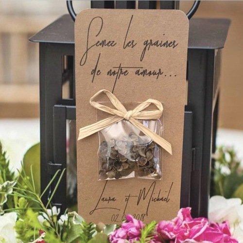 """Carte sachet de graines, mariage champêtre , raphia, cadeaux invités, personnalisable, """"semez les graines de notre amour"""""""