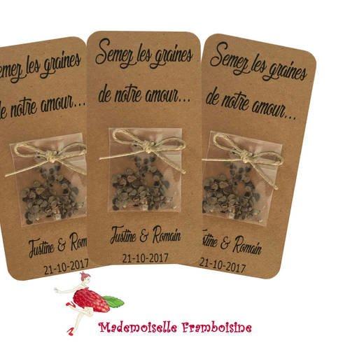 """Carte sachet de graines, mariage nature , cadeaux invités, personnalisable, """"semez les graines de notre amour"""""""