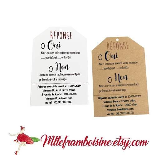 Etiquettes coupon réponse, invitation pour faire part mariage kraft naturel ou blanc, personnalisable