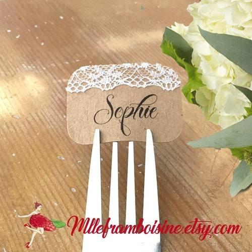 Marque place mariage, champêtre chic, dentelle, kraft naturel, personnalisable aux prenoms des invités