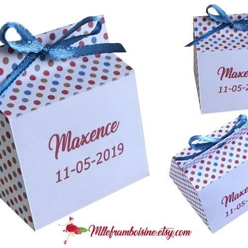 Boîte à dragées,petits pois multicolor, personnalisable,  baptême, mariage, communion, anniversaire