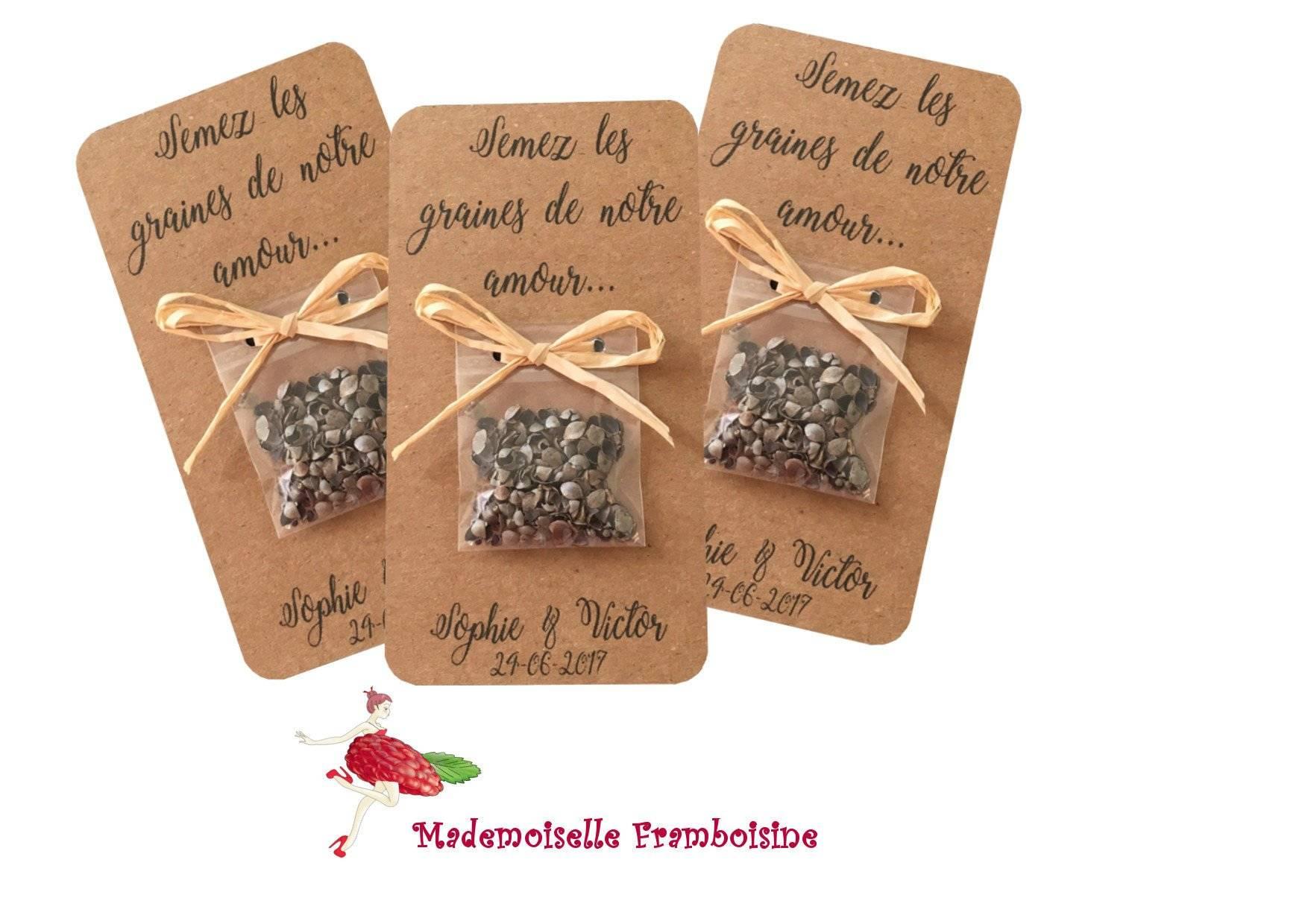 Carte sachet de graines, Mariage nature, raphia, champêtre cadeaux invités, personnalisable, semez les graines de notre amour