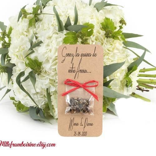 Carte sachet de graines, mariage champêtre , raphia rouge, cadeaux invités, personnalisable, semez les graines de notre amour