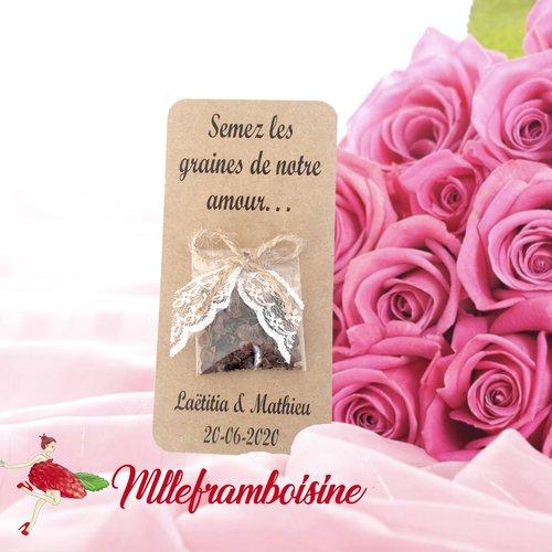 """Carte sachet de graines, mariage nature , cadeaux invités, personnalisable, semez les graines de notre amour"""""""