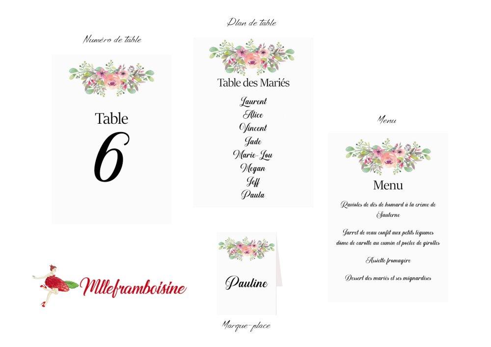 Numéro de table, Plan de table, mariage floral, aquarelle