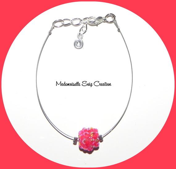 """Joli Bracelet Perle Shamballa """" Rouge Reflets """""""