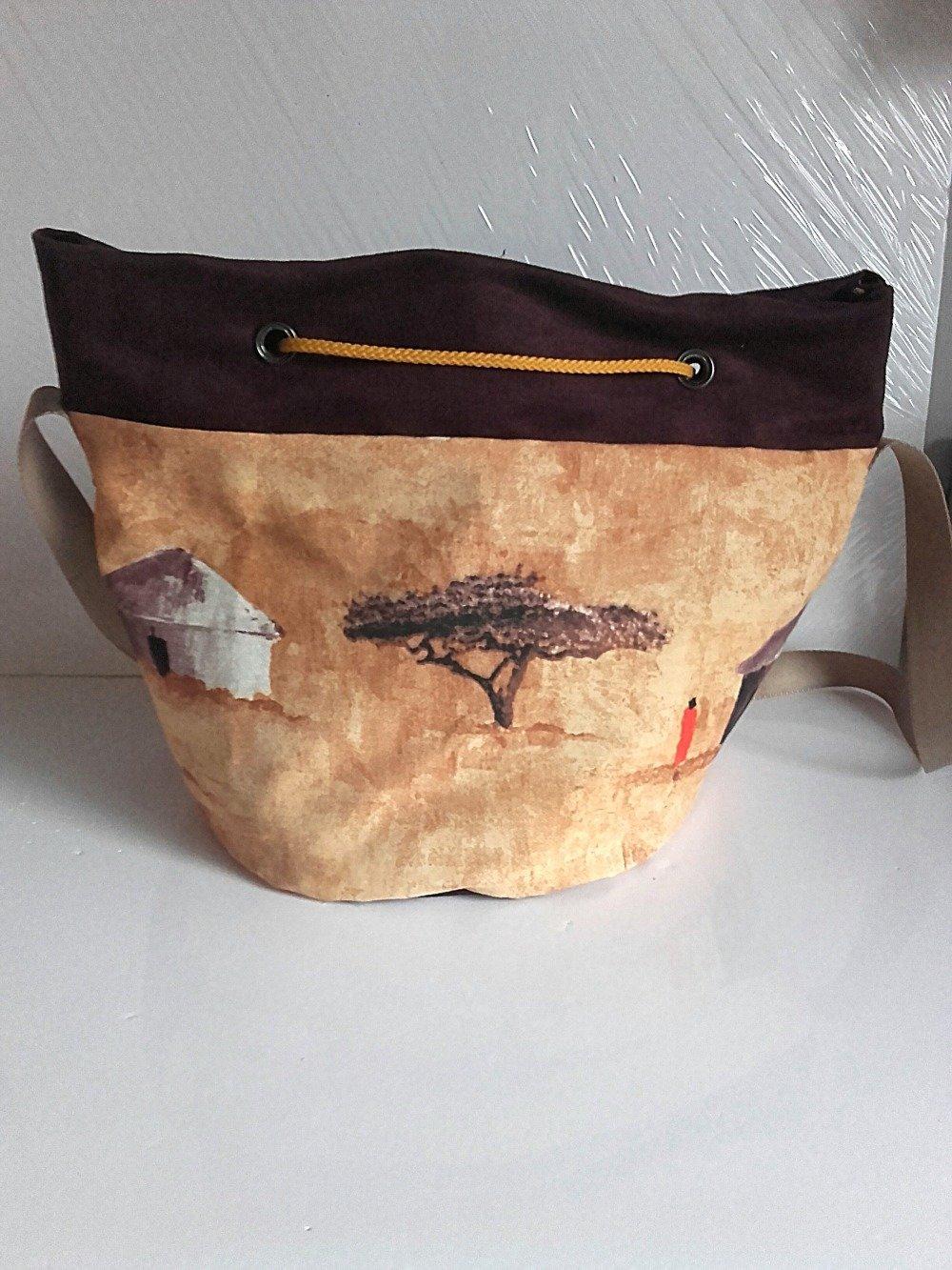 VENDU Sac seau bandoulière porté épaule, sac tissu ethnique et suédine, sac de plage marron et prune  cabas femme porté épaule tissu