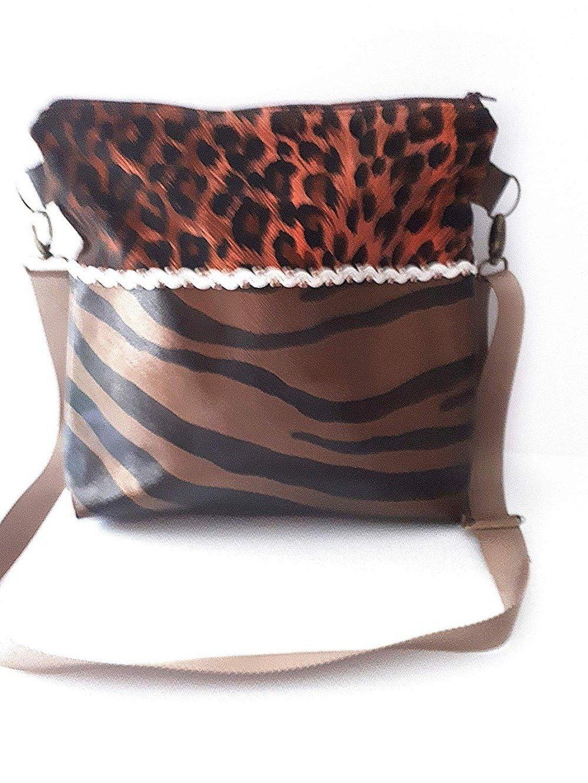 Sac bandoulière réglable simili cuir imitation peau, sac besace marron noir, sac à main tendance, sac féminin moderne simili cuir