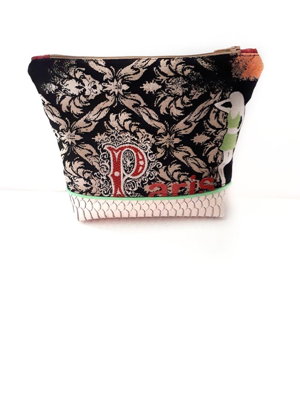 Trousse maquillage moderne tissu noir, pochette rangement pour sac simili cuir blanc cosmétiques trousse pour sac