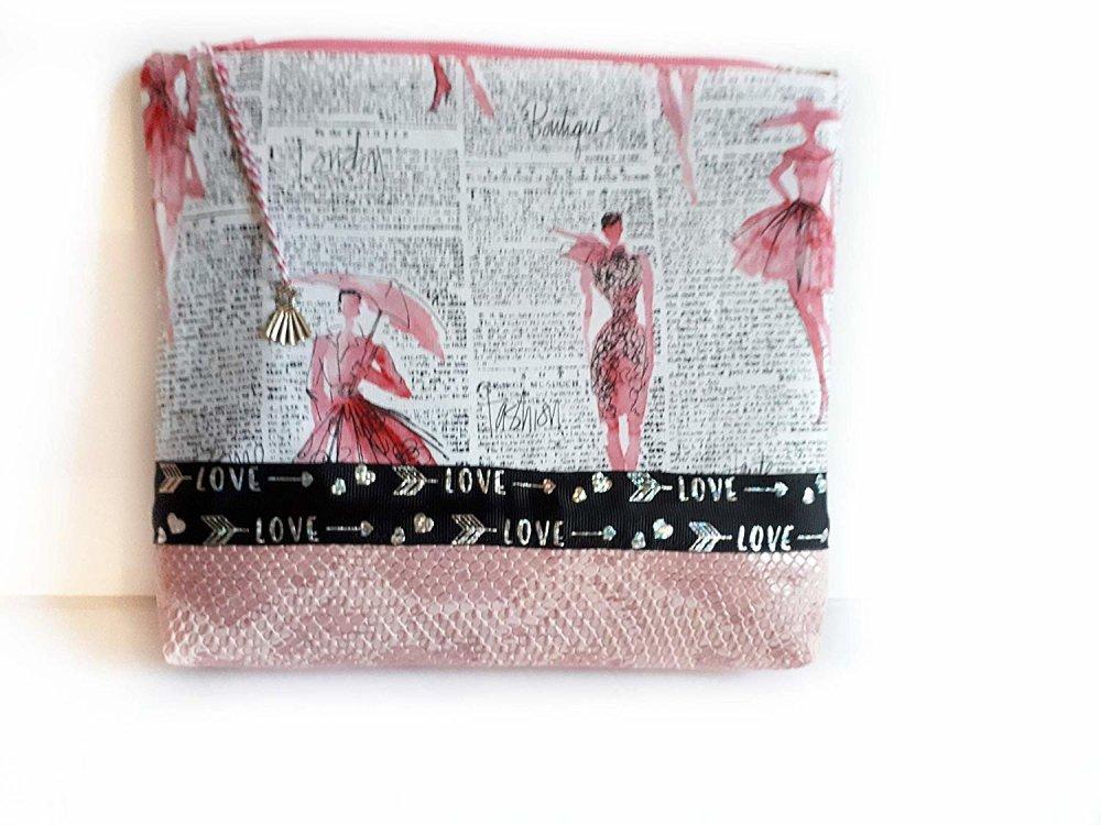 Trousse trapèze chic défilé mannequin, pochette moderne zip simili cuir cosmétiques maquillage rangement salle de bains