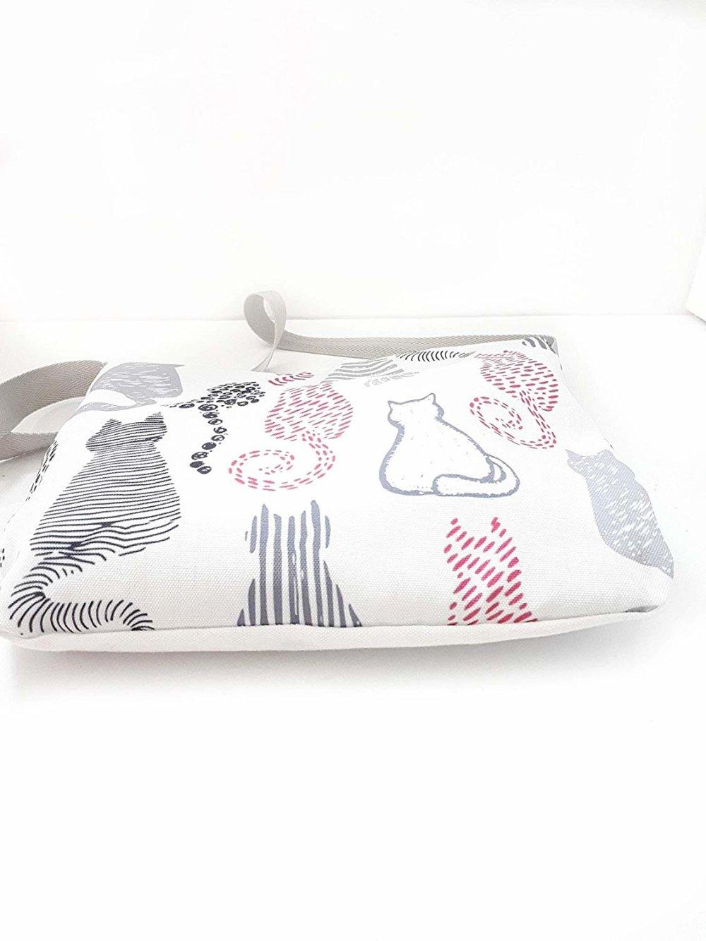 Sac bandoulière tissu blanc chats, sac besace bandoulière silhouettes chats assis, sac à porter en travers du buste léger lavable