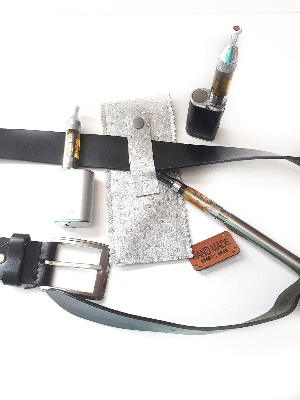 porte cigarettes électroniques à la ceinture simili cuir gris argenté, étui à cigarette électronique, étui pour ceinture simili cuir