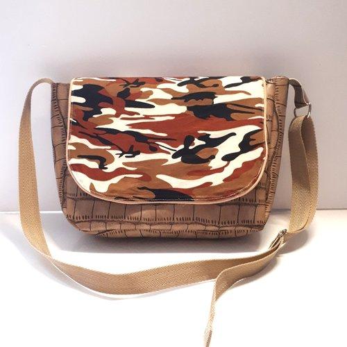 Sac bandoulière réglable, simili cuir effet rapiécé, porté épaule ou en travers du buste, sac élégant besace,camouflage