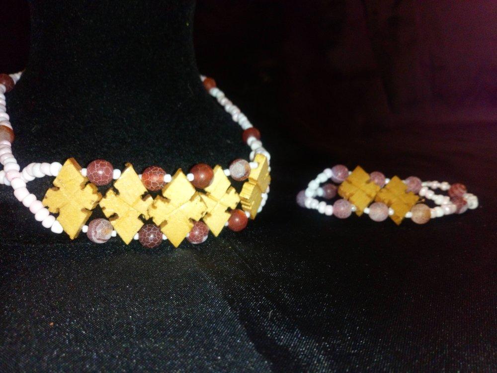 """Parure  Collier bracelet croix orthodoxes éthiopiennes """" Fire keys"""" ."""