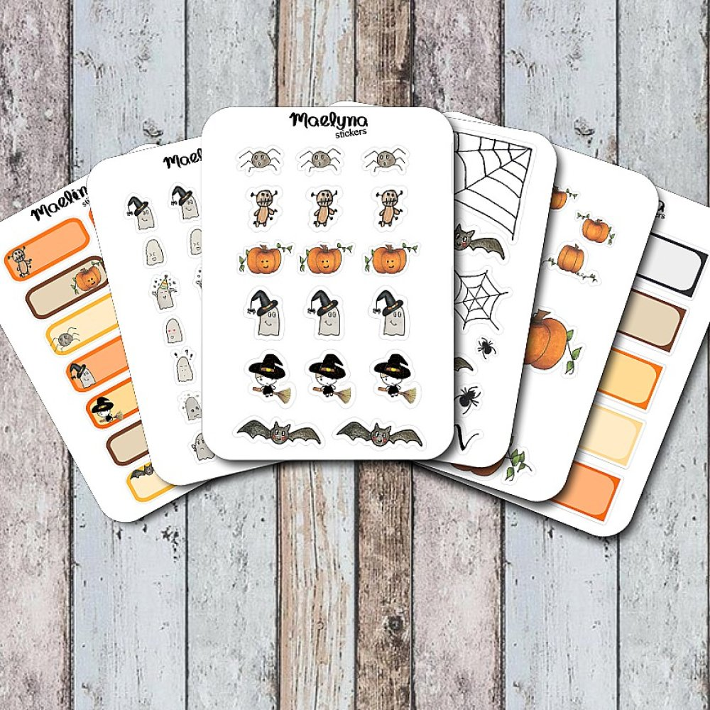 sticker planner, autocollants, stickers, bullet journal, halloween, araignées
