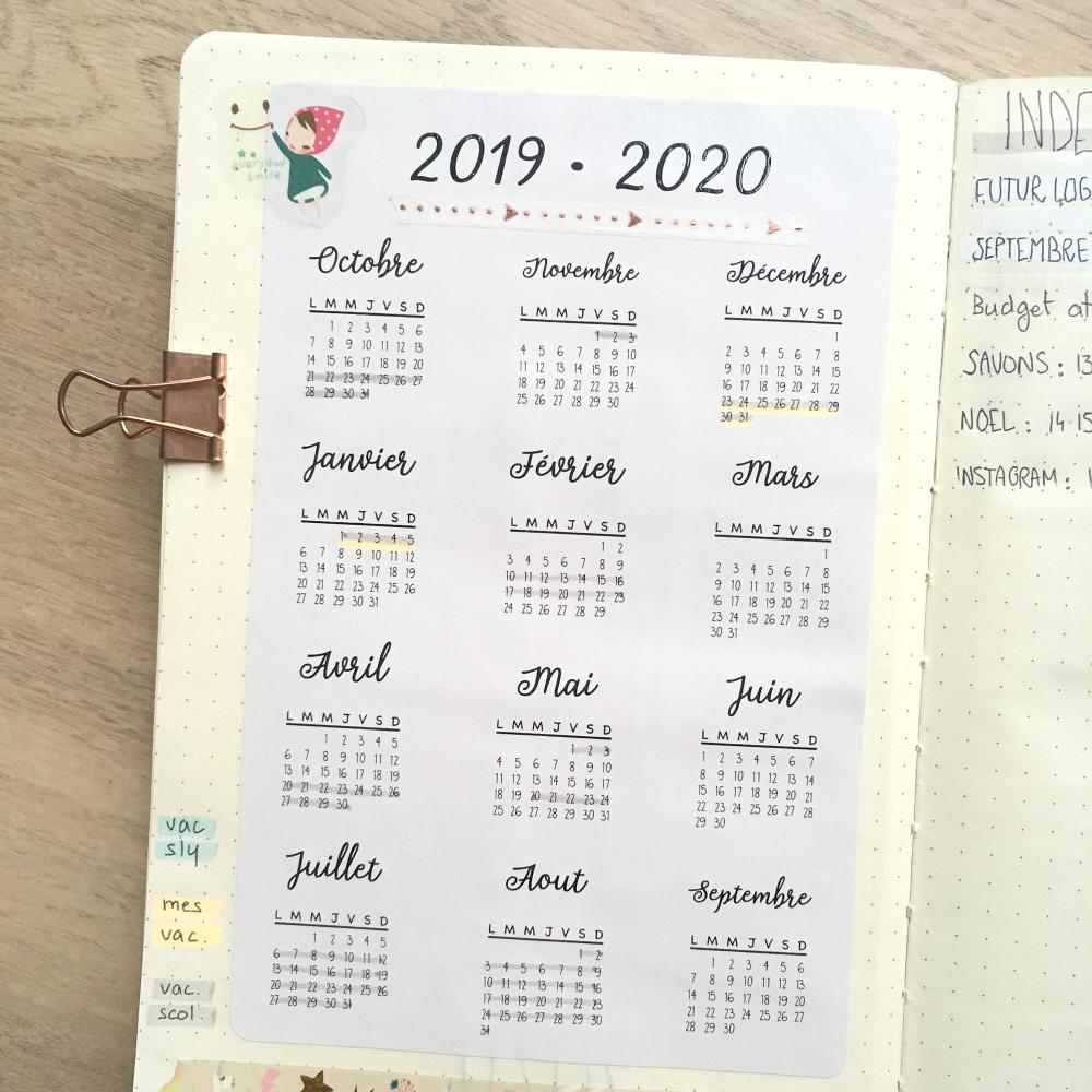 autocollants bullet journal, stickers français, futur log, calendrier, année scolaire