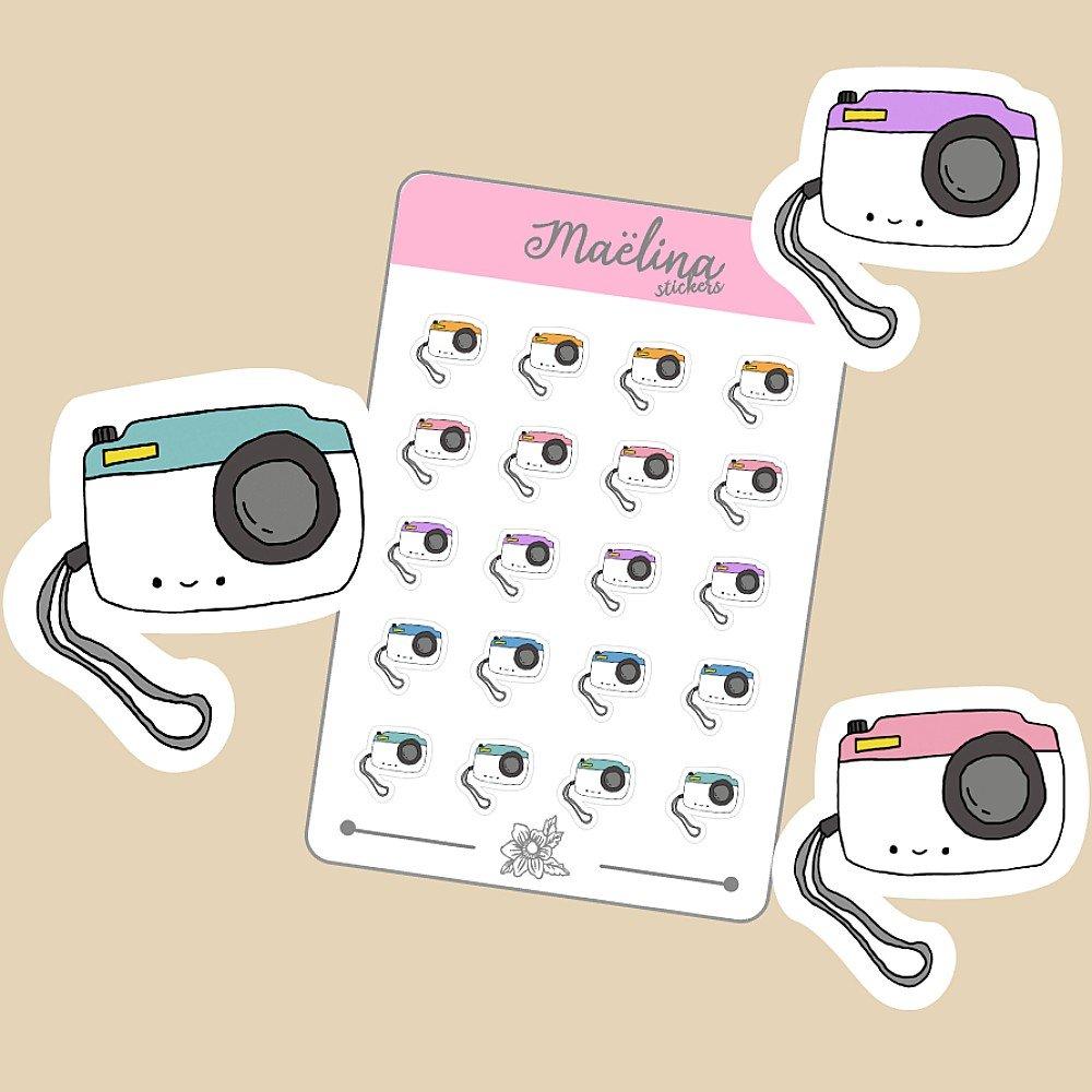 sticker planner, autocollants, stickers, bullet journal, photo, apareil photo, français