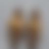 2 montages perles en résine marron blanche noire et perle en bois naturelle 12x30mm, apprêts, loisirs créatifs