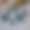 8 connecteurs 7x18mm, pierre bleu noir, métal doré, apprêt, création de bijoux