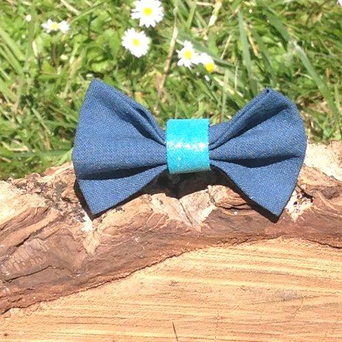 Barrette noeud papillon, bleu canard et turquoise