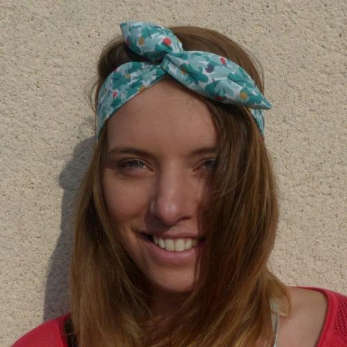 Bandeau headband rigide style rétro/chic, motifs feuilles et pois