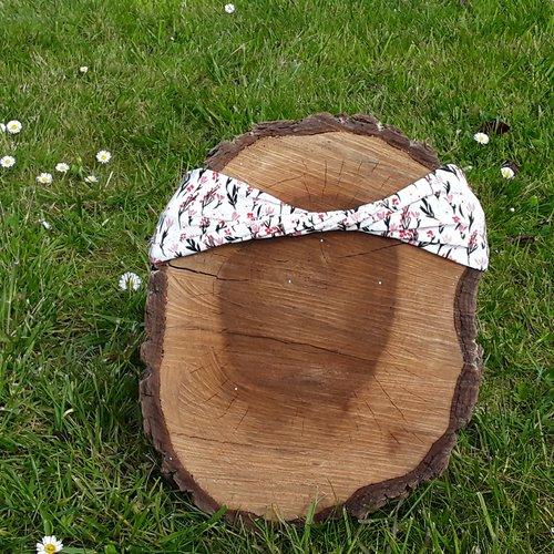 Headband, bandeau en jersey, motif fleurs, femme ou enfant