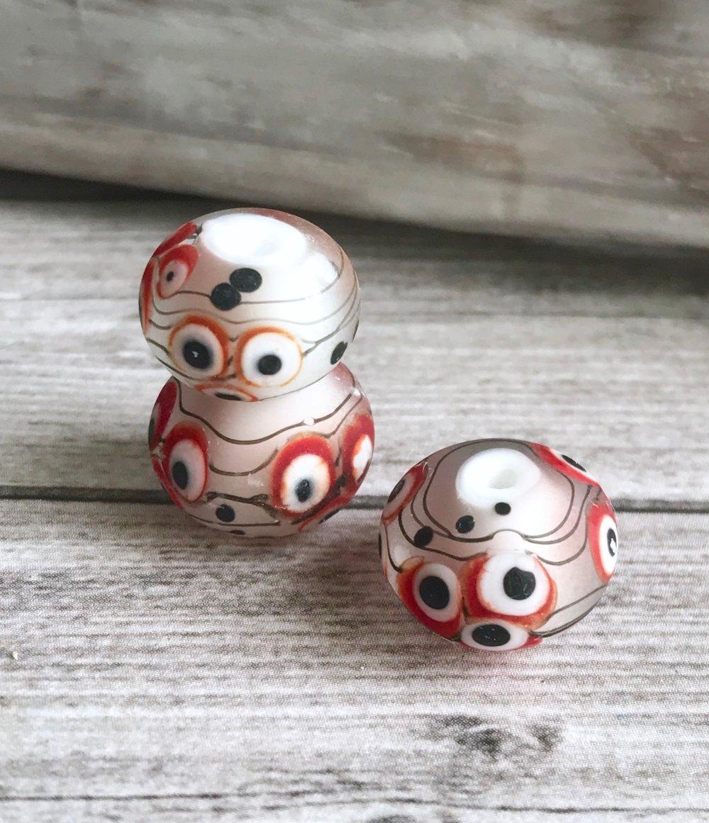 4 Perles de verre filé au chalumeau faite à la main rouges blanches, perles en verre de Murano pour bijoux