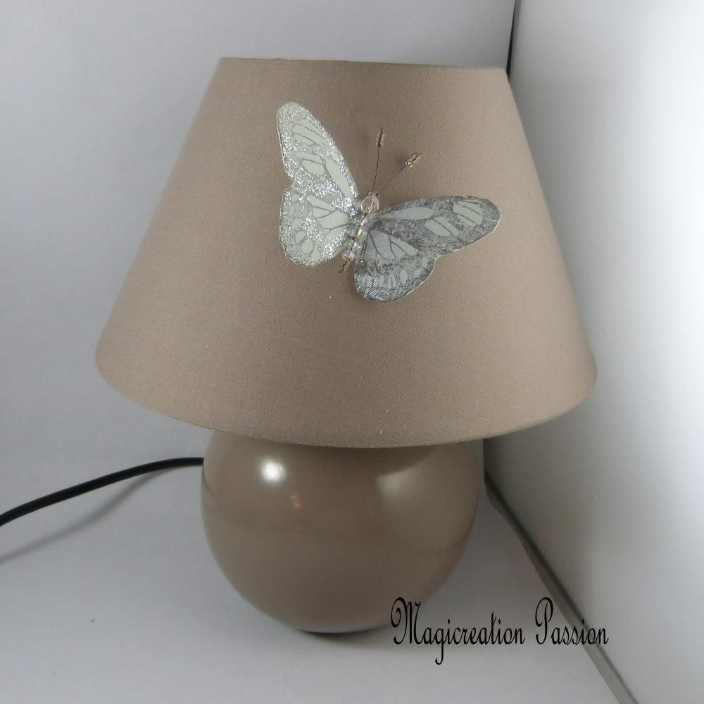magnet décoratif grand papillon de soie  bleu clair Givre +1 aimant