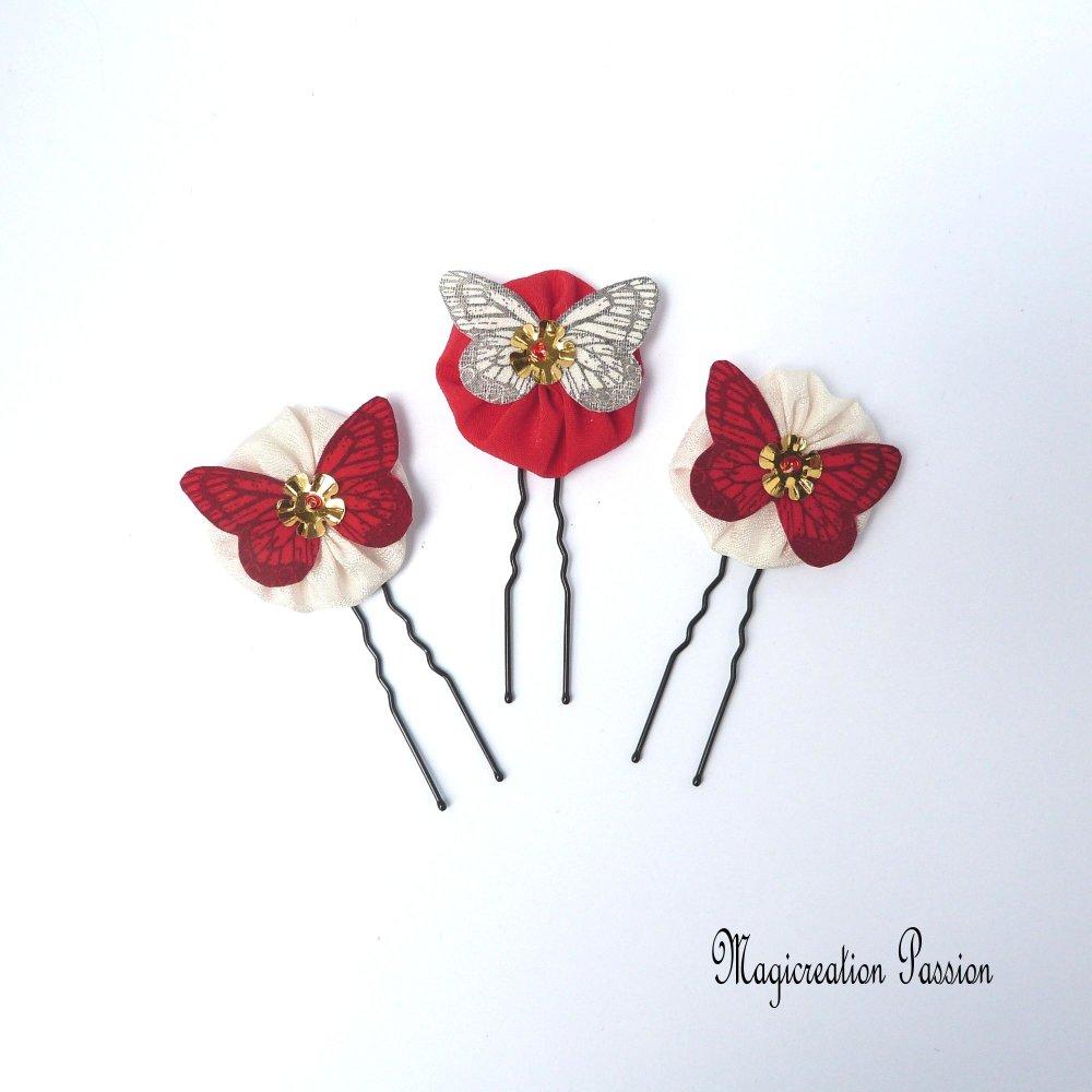 épingles chignon fleurs et papillons soie blanche et rouge coeur de sequin - modèle Mia
