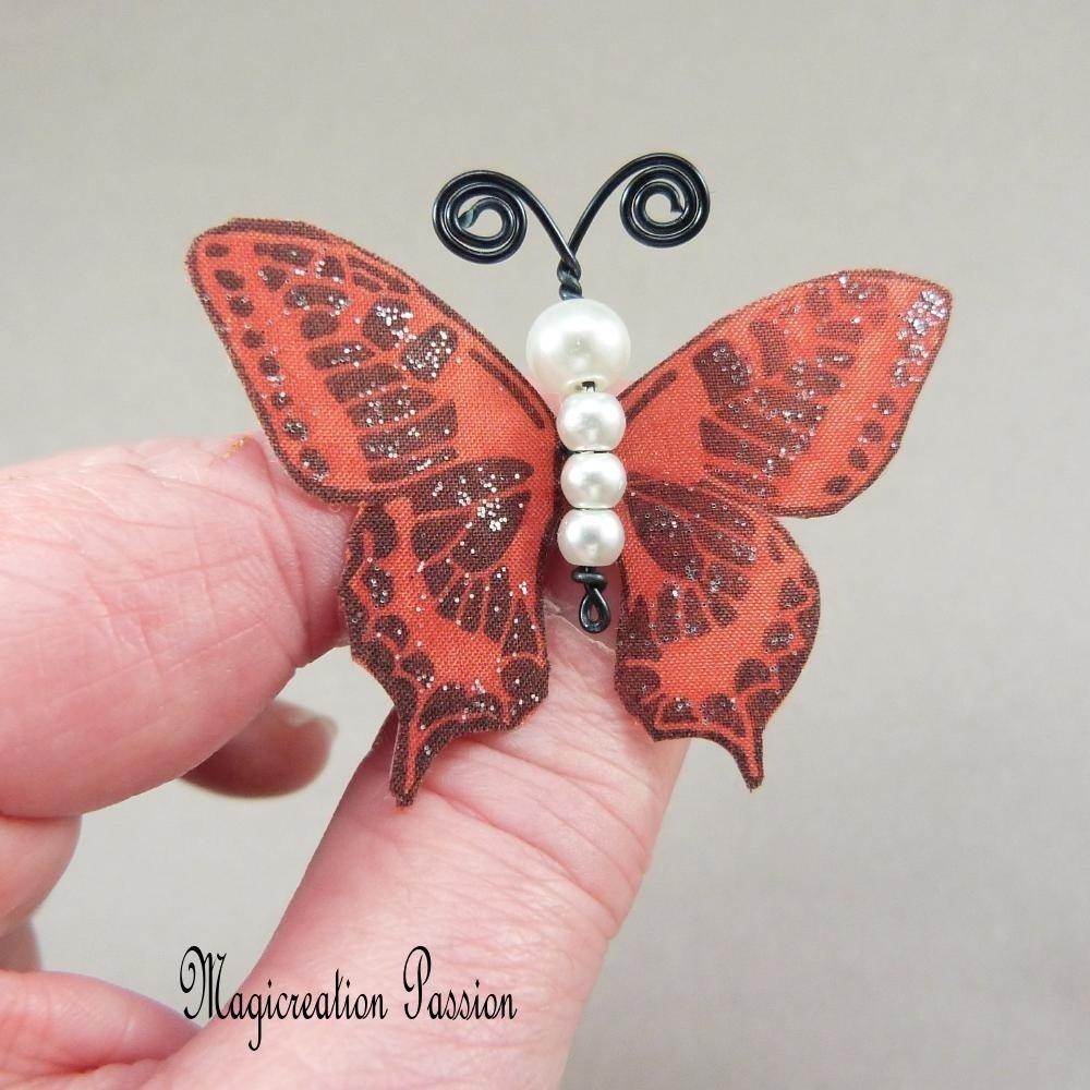 épingles à chignon papillons soie marron et  corps de perles, lot de 3, modèle Maéva