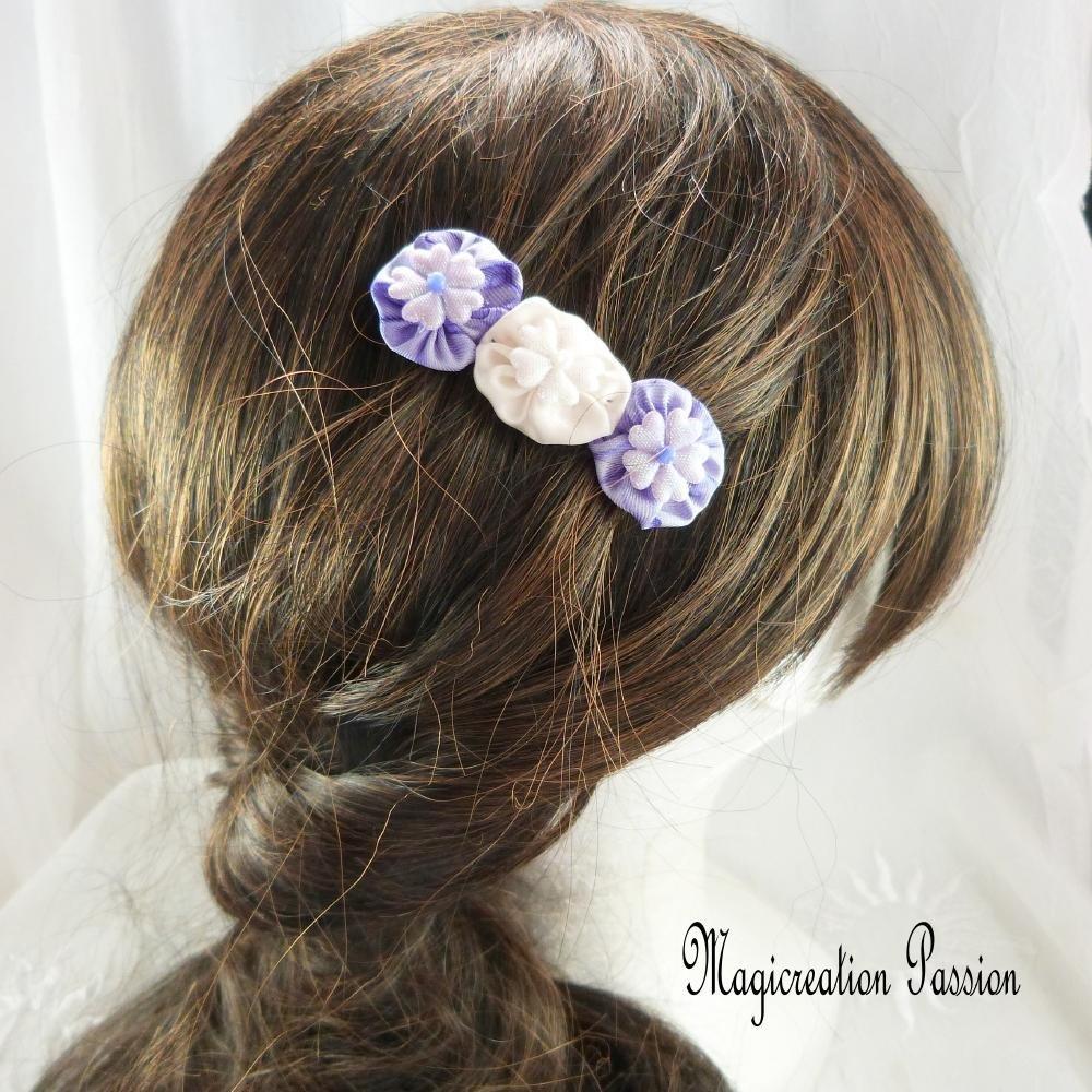 Barrette fleurs soie violet et blanc 5 cm