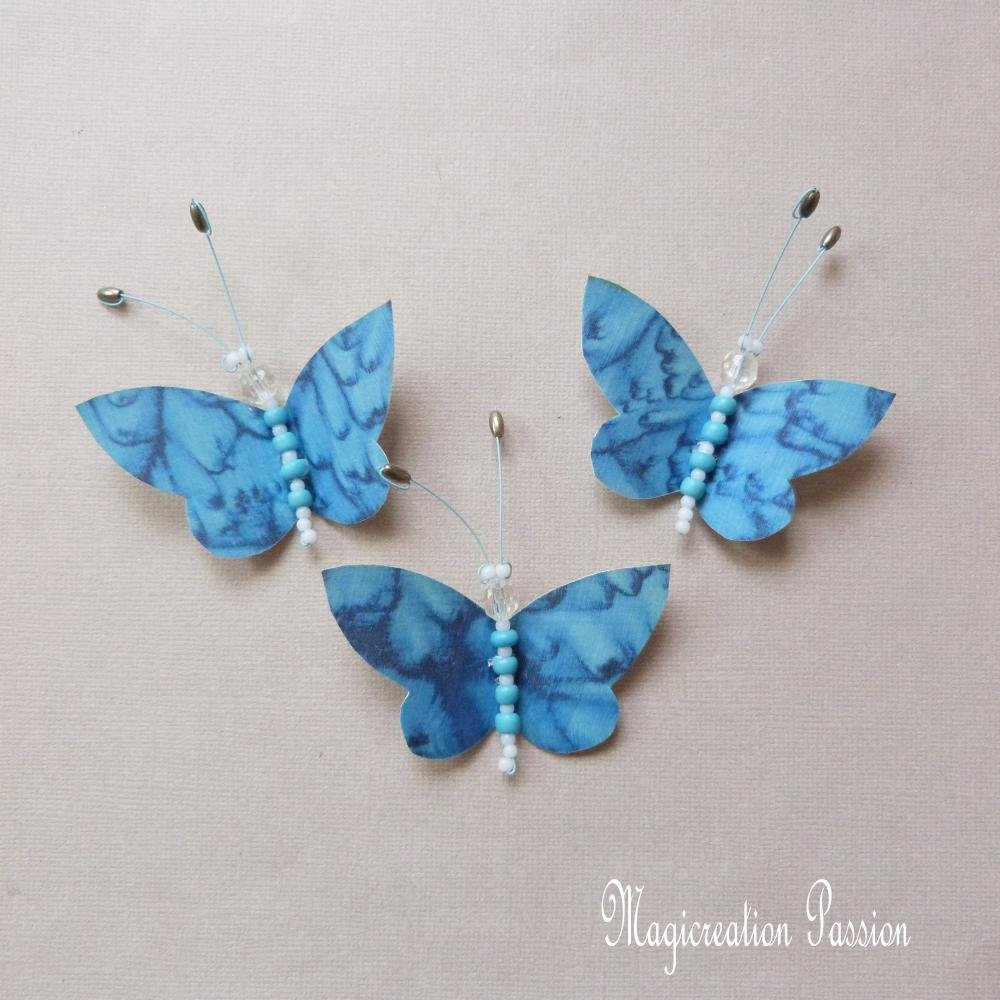 lot 3 papillons magnets soie bleu marbré, corps de perles + 3 aimants