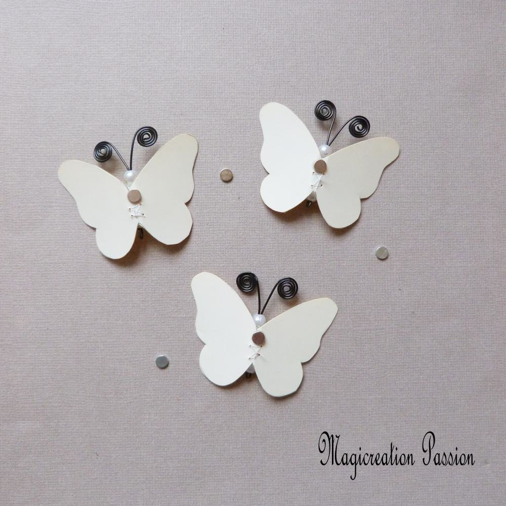 lot 3 magnets papillons soie jaune marbrés corps perles blanches et métal noir  + 3 aimants
