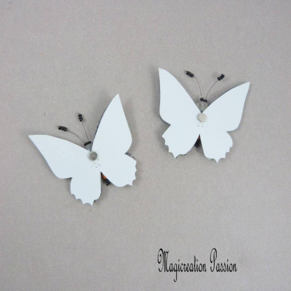 lot 2 papillons magnets double ailes soie bleu et transparent noir + 2 aimants