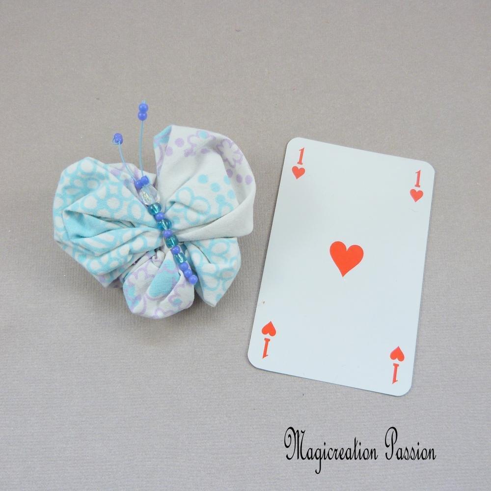 barrette papillon turquoise et parme 7 cm, perles bleues, barrette française métal 4 cm,