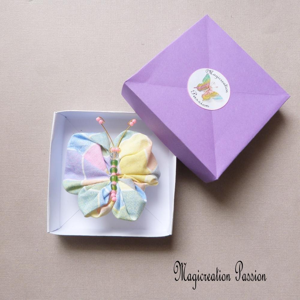 barrette papillon multicolore 6.5 cm, perles vertes, barrette française métal 4 cm,