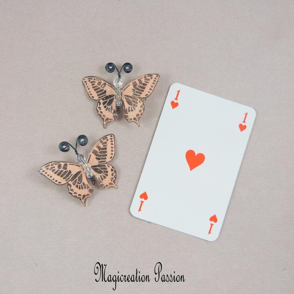 """pinces papillons antiglisse soie abricot corps de perles, antennes noires """"Maéva"""""""