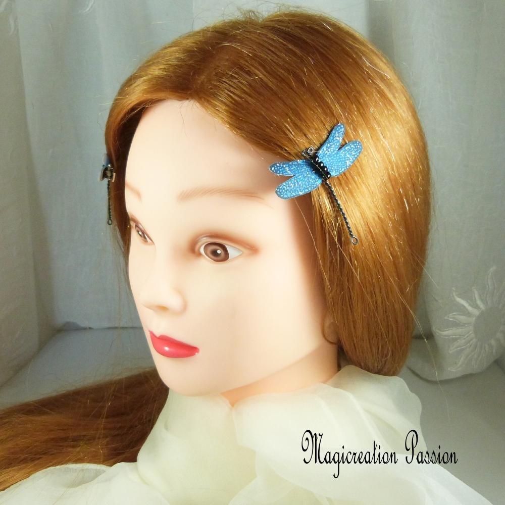 pinces antiglisse libellules soie bleue et  métal noir - Evinrude